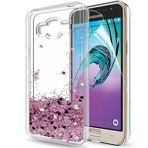 Funda Samsung Galaxy J3 2016 Purpurina Carcasa con HD Protectores de Pantalla, LeYi Brillante Liquida Transparente TPU Silicona Case Fundas Carcasas Para Movil Galaxy J3 J3 2016 J320 J3 Plus ZX Oro Rosa