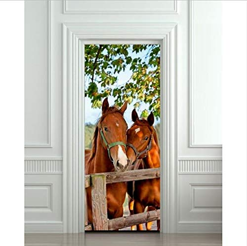 Haipeiy Türaufkleber DIY 3D Wandaufkleber Wandhauptdekor Pferde Stall Scheune Abnehmbare Tür Aufkleber Decole 77X200cm