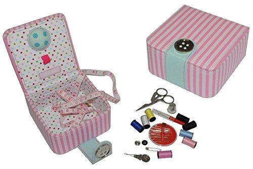 alles-meine.de GmbH Set: Nähdose + Nadelkissen gefüllt mit Zubehör - Nadeln Maßband Schere - Nähkasten Nähkästchen Anfänger Reiseset nähen rosa Streifen gestreift (Gefüllt Nähen)