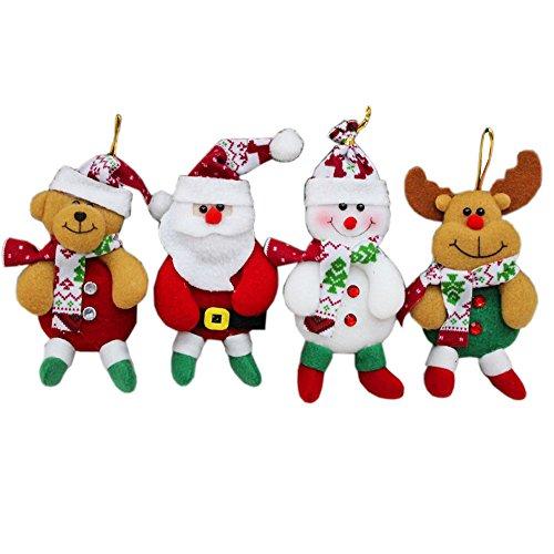 HOAEY 4pezzi Babbo Natale albero ornamenti creative peluche Babbo Natale albero di Natale decorazione da appendere A(Without Bell)