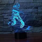 Snowboard Modello 3D Night Light LED Illusion Ski Men 3 Lampada LED 7 Cambio colore USB Telecomando Touch Sleeppin Lamp Miglior regalo han-9247