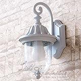 Rustikale Wandleuchte in Weiss inkl. 1x 12W E27 LED 230V Wandlampe aus Aluminium & Glas für Garten/Terrasse Garten Terrasse Lampe Leuchten außen Beleuchtung