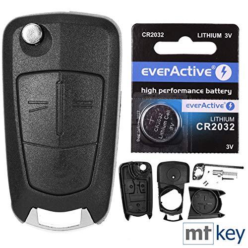 Klapp Schlüssel Gehäuse Funkschlüssel Fernbedienung Autoschlüssel 2 Tasten Rohling HU100 + Batterie für Opel