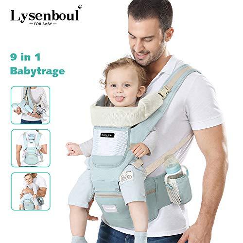 Lysenboul Ergonomische Babytrage, Kinder Hüftgurt, Rückentrage mit Hüftsitz,Verstellbare Atmungsaktive Kindertrage Grün,Geeignet für Säuglinge von 0-36M / 3-20kg