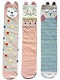 FLYCHEN 3 Paare Mädchen Kniestrümpfe mit verschiedenen Tier-Motiven süße Socken Alter 4-10 (One Size, Stil 4 Häschen Katzen und Eulen)