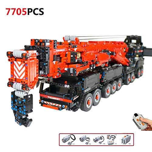 TETAKE Bausteine Technik Kran mit Funktions Motor - Technic Ferngesteuert Mobile Kranwagen - Klemmbausteine Konstruktionsspielzeug mit 7705 Teile - 130x15x250cm
