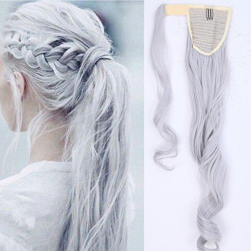 60cm extension capelli coda di cavallo clip in hair sintetici mossi ponytail extension - grigio argento