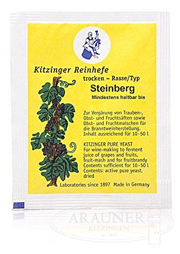 """TROCKENHEFE / Weinhefe 5 g \""""Steinberg\"""" trocken Kitzinger Trockenhefe für Trauben und Früchte vergären ergiebig bis 10 - 50 Liter"""