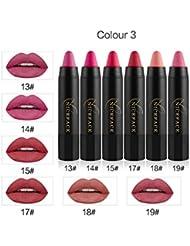6 couleurs rouge à lèvres, NICEFACE matte longue durée hydratant lipgloss crayon lèvres bâton stylo à lèvres gloss set professionnel maquillage outil hydratant kit nutritif(#3)