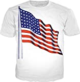 100ANB - USA (FLAG-G-1-30) - united states FLAG with Pole post - UNITED STATES OF AMERICA - GRAPHIC PRINTED DRIFIT T-SHIRT TEE, SIZE : MEDIUM (40)