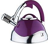 Induction Bouilloire en acier inoxydable Design cuisinière Bouilloire Bouilloire Bouilloire Sifflet (Capacité env. 3l + Couleur: Argent/Violet)