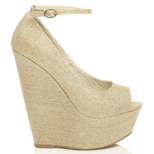 Femmes talon haut mode bout ouvert chaussures à semelles compensées pointure Paillettes d'or
