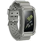 JIELIELE Samsung Gear Fit 2 Armband, Schutzhülle mit Elastischem Ersatzbänder Band für Samsung Gear Fit 2 und Gear Fit2 Pro Smart Fitness Uhr (Gray)