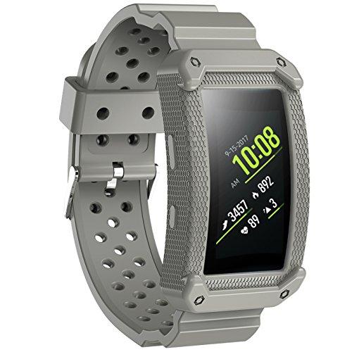 JIELIELE Samsung Gear Fit 2 Armband, Schutzhülle mit Elastischem Ersatzbänder Band für Samsung Gear Fit 2 & Gear Fit2 Pro Smart Fitness Uhr (Gray)