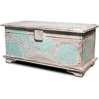 FaHome Madera baúl Adorno de flor–Cofre del Tesoro, Cofre del Tesoro, Box, caja de madera, tallada turquesa, madera, 50 cm - Muebles de Dormitorio precios