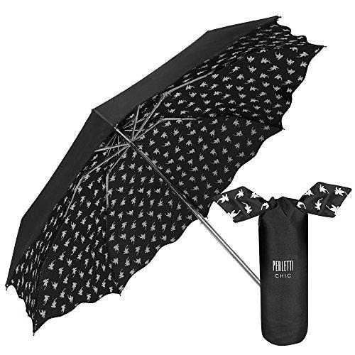Perletti Chic  - Paraguas Plegable Mujer, Super Mini Paraguas con estampado Flores Interno con bolso Compacto y Antiviento, Negro, diámetro de 94 cm