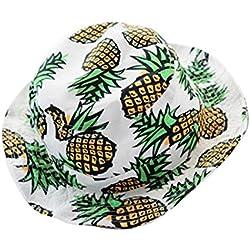 Malloom Mujeres Impresión de piña Sombreros del cubo Sombrero plegable Gorros de pescador (blanco)