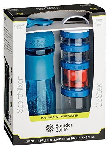 BlenderBottle Combo Pak - Sportmixer Shaker und Gostak Starter 4Pak mit Henkel in einer attraktiven Geschenkverpackung - cyan