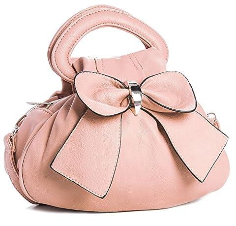 BHBS Femmes Haut Poches Zippées Multiples Nœud Chic Petit Sac à Main 24x22x13 cm (LxHxP) (Pale Pink)