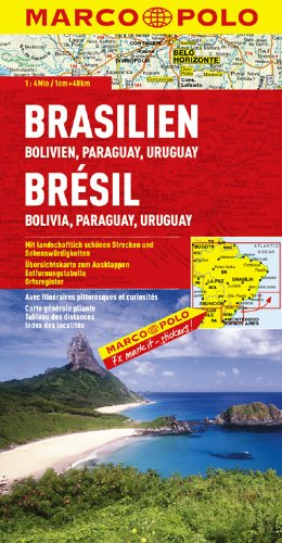 MARCO POLO Kontinentalkarte Brasilien, Bolivien, Paraguay, Uruguay 1:4 Mio. (MARCO POLO Kontinental /Länderkarten)