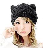 Tri-Elt Damen Wintermütze Katzenohren Mädchen Strickmütze Strick Mütze Damenmütze Katze-Ohr Katze Ohren Wollmütze Skimütze (schwarz)