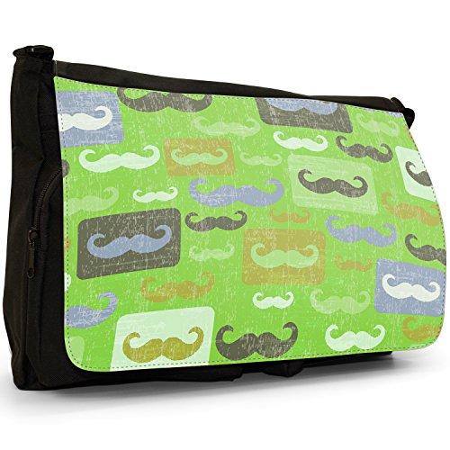 retrò Movember Baffi–Borsa Tracolla Tela Nera Grande Scuola/Borsa Per Laptop Green Moustaches Mustaches