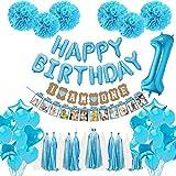 Sweetneed Decoraciones Cumpleaños Niños'Happy Birthday'+IAMONE'+Juego de 6 pompones de flores + Número 1+meses Baby Photo Banner+19 Globos azules +15 borlas + 4 Corazones pentagonales+4Corazones