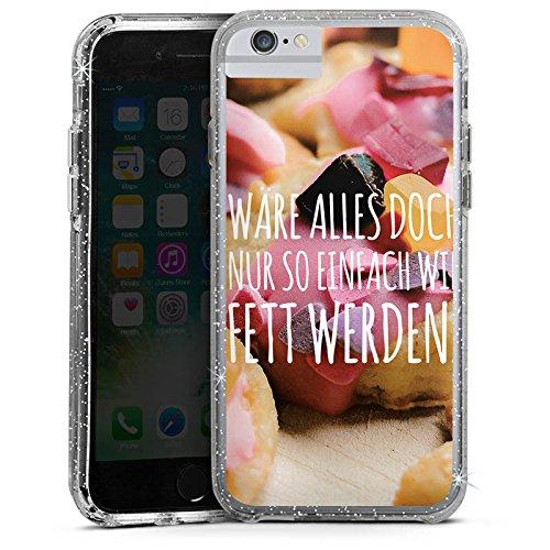 Apple iPhone 6 Bumper Hülle Bumper Case Glitzer Hülle Humor Sayings Sprüche Bumper Case Glitzer silber