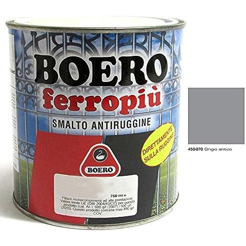 SMALTO ANTIRUGGINE FERROPIU' BRILLANTE GRIGIO ANTICO ML.750 070002 AZIMUTHSHOP