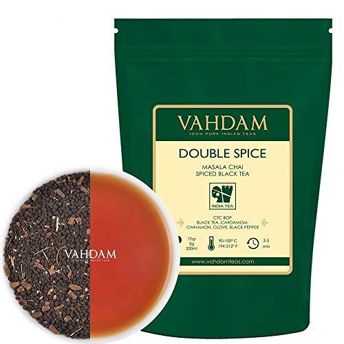 VAHDAM, Double Spice Masala Chai Tea, (100 Cups) 200g | Strong & Spicy | 100% N atural Ingredients | Blend of Black Tea, Cardamom, Cinnamon, Cloves & Black Pepper | Spiced Chai Tea | Brews Chai Latte
