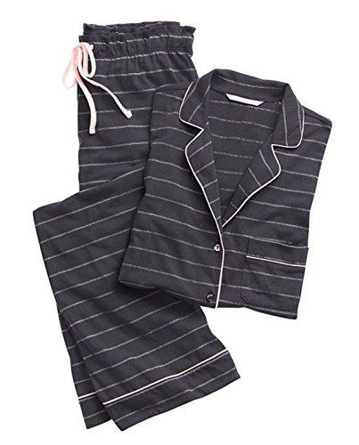 Frau Mit Langen Ärmeln Baumwolle Pyjama Stück Eingebaut Feder Grey