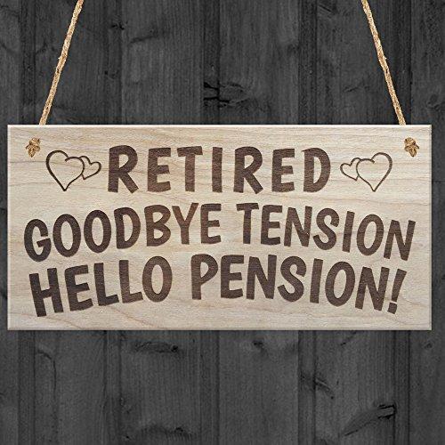 at Schild Zum Aufhängen Schilder für Home Decor Retired Goodbye Tension Hello Pension Ruhestand Schild Geschenk Funny Rhyme Geschenk Holz Willkommen Schilder ()