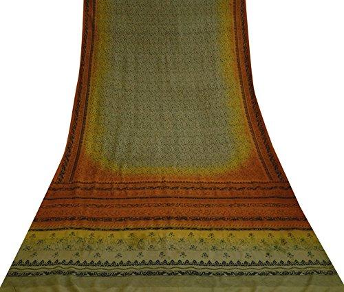 Indiani etnica Saree stampa floreale 100% seta verde Sari Artigianato Etnico tessuto 5 Yds Verde Oliva