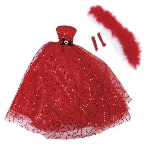 Gazechimp Roten Pailletten Braut Hochzeitsfest Bevorzugung Für Barbie-Puppe (Braut Kleidung Puppe)