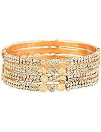 Zeneme Designer American Diamond Gold Plated Bangles Jewellery For Women/Girls…