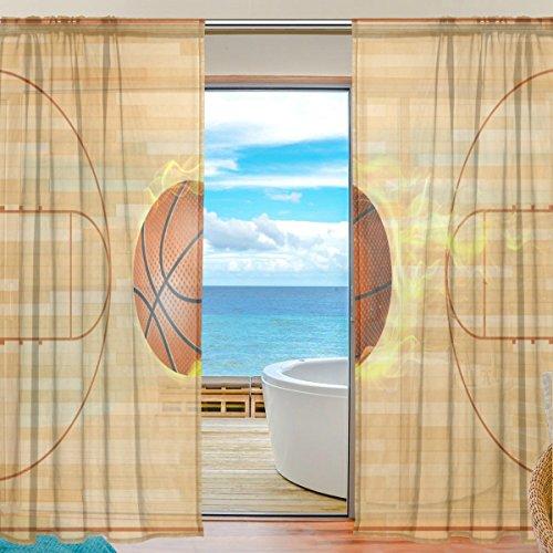 yibaihe Fenster Sheer Vorhänge Panels Voile Drapes Tüll Vorhänge Schöne Einrichtung Burning Basketball und Court 140 W x 198cm L 2Einsätze für Wohnzimmer Schlafzimmer Girl 's Room