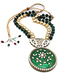 IKraft Indian Bollywood Gold Plated Kundan Pearl Green Beads Traditional Jewelry Necklace Gift For Wedding Party...