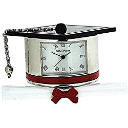 Miniature Graduation Hat & Scroll Novelty Desktop Collectors Clock 9343