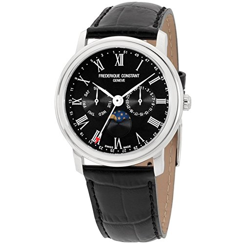 FREDERIQUE CONSTANT MEN'S 40MM BLACK LEATHER BAND QUARTZ WATCH FC-270BR4P6