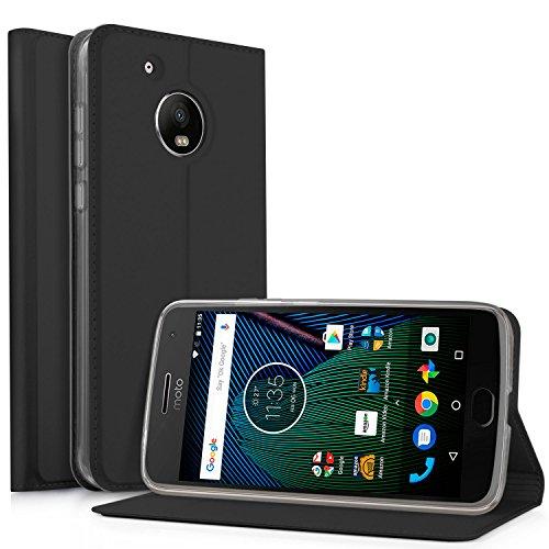 IVSO Motorola Moto G5 Funda Slim Flip Cover Funda de Cuero PU Multi-Angle Shockproof Silicio Inner Funda cáscara Protectora Carcasa para Moto G5 2017 Smartphone(Negro)