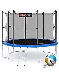 Hop-Sport Gartentrampolin 244, 305, 366, 430, 490 cm Komplettset inkl. Innennetz Leiter Wetterplane Erdanker Blau
