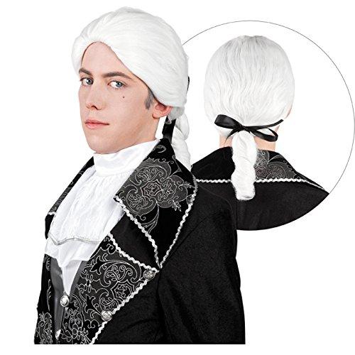 NEU Perücke Rokoko-Mann, mit Zopf, (Männer Perücke Weiße)