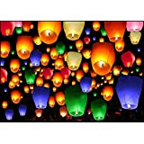 Premium Quality Sky Lantern Multi Color Finest Quality With Wax Candle Pack Of 10 Piece