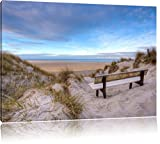 Bank in den Dünen mit Blick auf das Meer, Format: 60x40 auf Leinwand, XXL riesige Bilder fertig gerahmt mit Keilrahmen, Kunstdruck auf Wandbild mit Rahmen, günstiger als Gemälde oder Ölbild, kein Poster oder Plakat