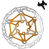 Freno de disco flotante de acero inoxidable para bicicleta, 160 mm, giratorio de bicicleta, parte de ciclismo de montaña con pernos (oro)