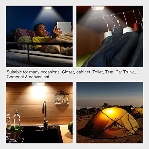 Lámpara Nocturna  Techole Luces Led con Sensor de Movimiento  Luz Recargable con Cinta Adhesiva Magnética  3 Modos (auto/encendido/apagado)  Luz inalambrica cálida para Armario / Pasillo / Escalera