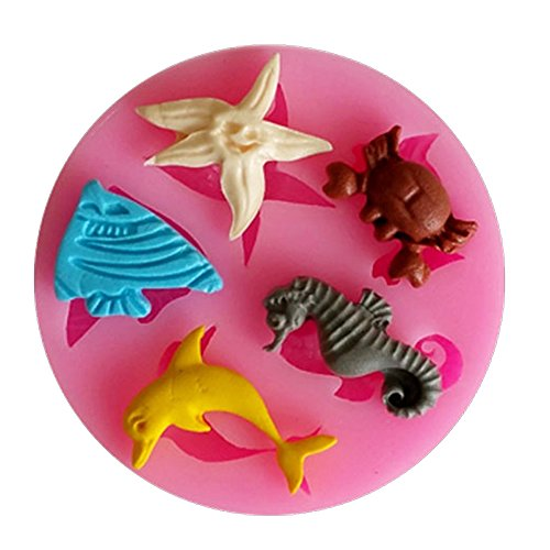 3D Marine Tiere Delfin Seestern Krebs Silikon Fondant Kuchen Form Delfin-form