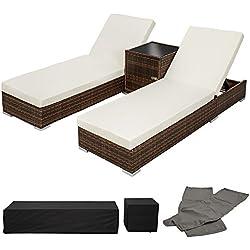 TecTake 2x Tumbona chaise longue de aluminio poli ratán + Mesa de jardín terraza marrón + 2 Set de fundas intercambiables + Funda completa, tornillos de acero inoxidable