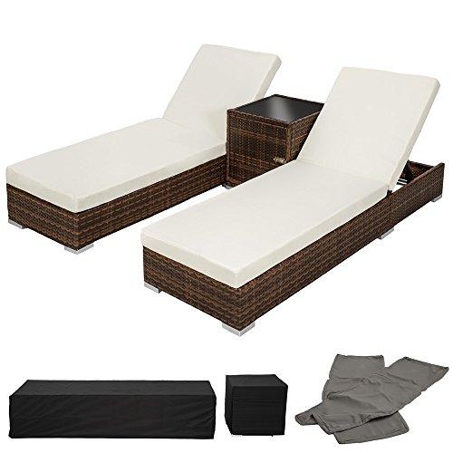 TecTake 2x Aluminium Polyrattan Sonnenliege + Tisch Gartenmöbel Set - inkl. 2 Bezugsets +...