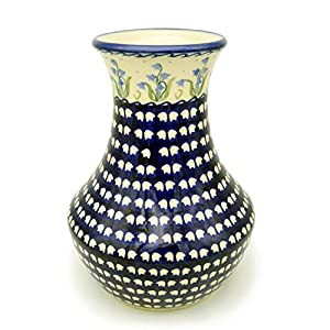 Bunzlauer Keramik Manufaktura Hand-Decorated Polish Pottery Vase Amphora – 25 cm High Dekor Glockenblume